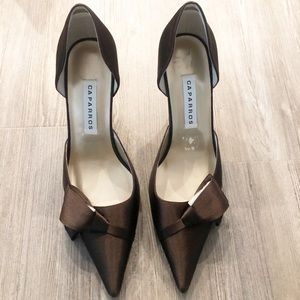 Caparros • Brown Satin D' Orsay Heels